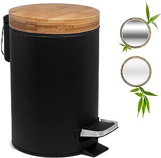3L Poubelle Design pour Salle de Bain | Couvercle en Bambou avec Fermeture Douce | Poubelle à pédale avec bac Amovible, An...