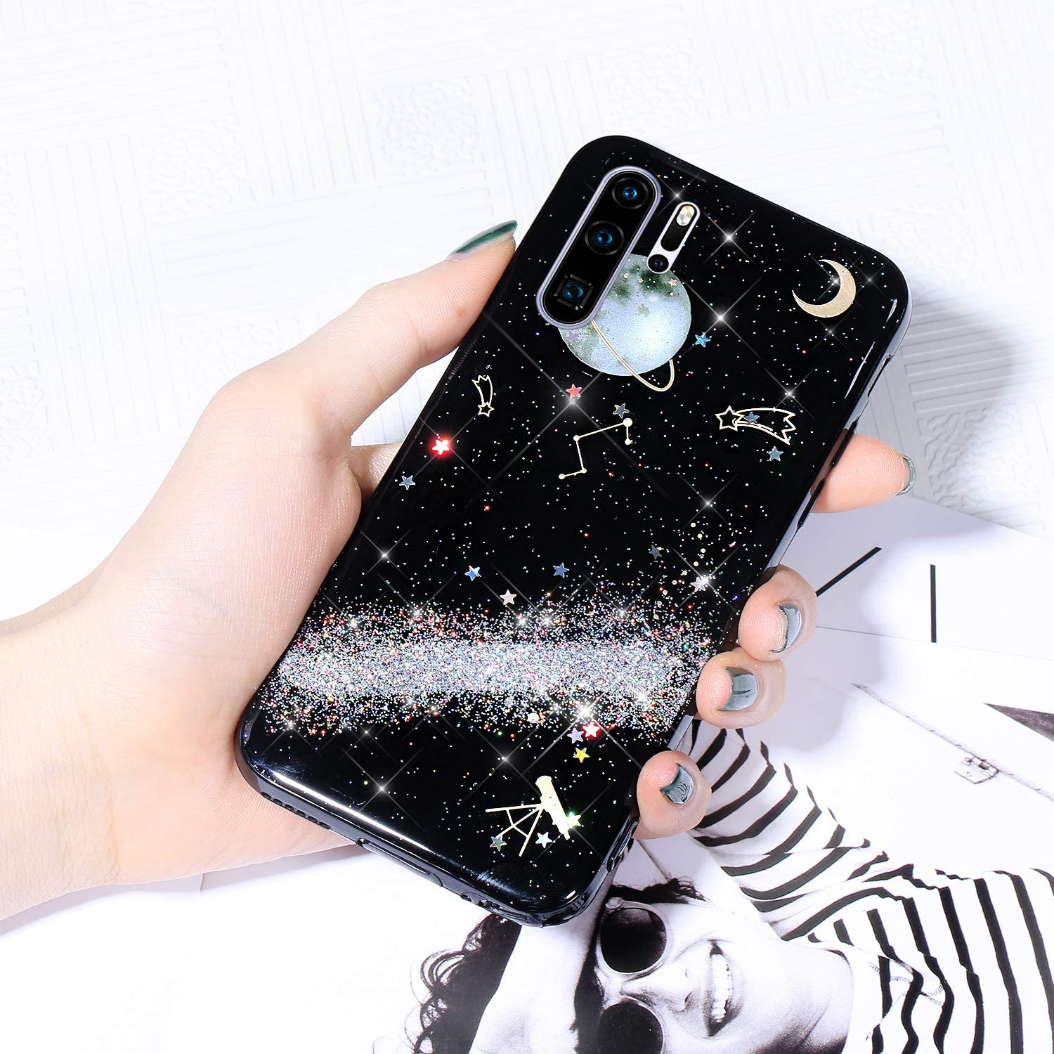 Case for All items in the store Huawei P30 San Jose Mall Pro Sparkle Starry Glitter Cover Shiny