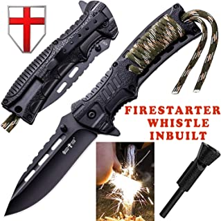 Pocket Knife - Tactical Folding Knife - Spring Assisted Knife with Fire Starter & Paracord Handle - Best EDC Survival Hiking Camping Knife for Army Military Emergency Outdoor Rescue - GrandWay 6772
