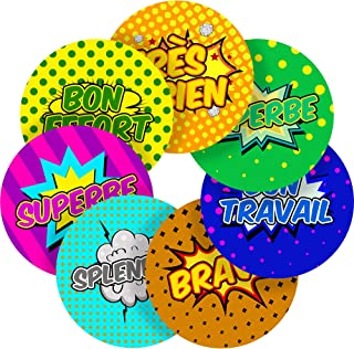French Lessons Motivational Words Superhero Comic Reward Sticker Labels, 70 Stickers @ 1