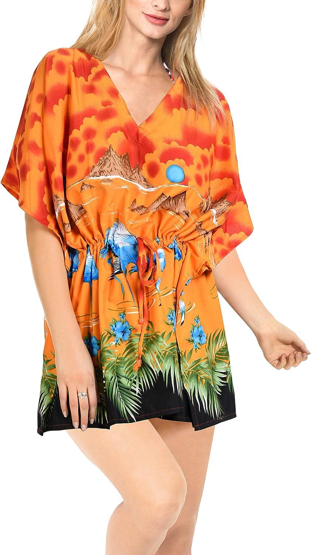 LA LEELA Women's Caftan Sundress Casual Evening Dress Cover Ups Drawstring A