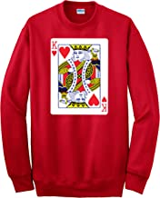 Hot Ass Tees Adult Unisex King of Hearts Playing Card Funny Novelty Parody Crewneck Sweatshirt