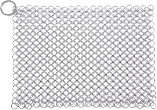 "WFRX Cast Iron Cleaner 8""x6"" Large Premium 316 Stainless Steel Cast Iron Scrubber, Chainmail Scrubber for Cast Iron Pans, ..."