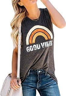 Dresswel Mujer Good Vibes Camisa sin Mangas Camiseta Impresi