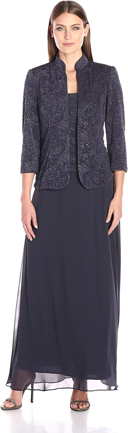 Alex Evenings Women's Jacquard Glitter Knit Long Dress and Mandarin Neck Jacket