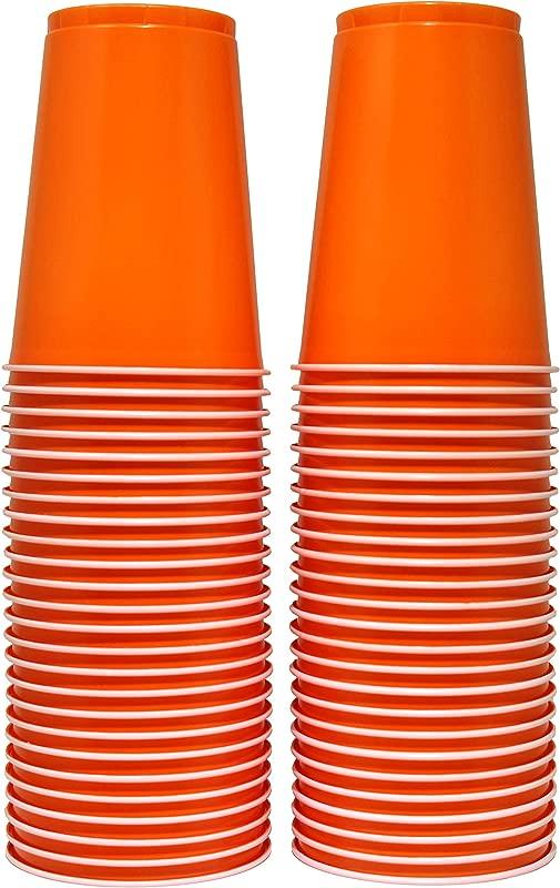 16 Oz Disposable Plastic Party Cups 50 Count Orange