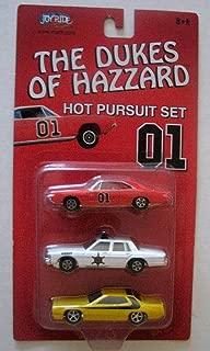 Joy Ride ERTL The Dukes of Hazzard Hot Pursuit Set 01 - General Lee, Roscoe's Police Cruiser, Daisy Dukes Plymouth
