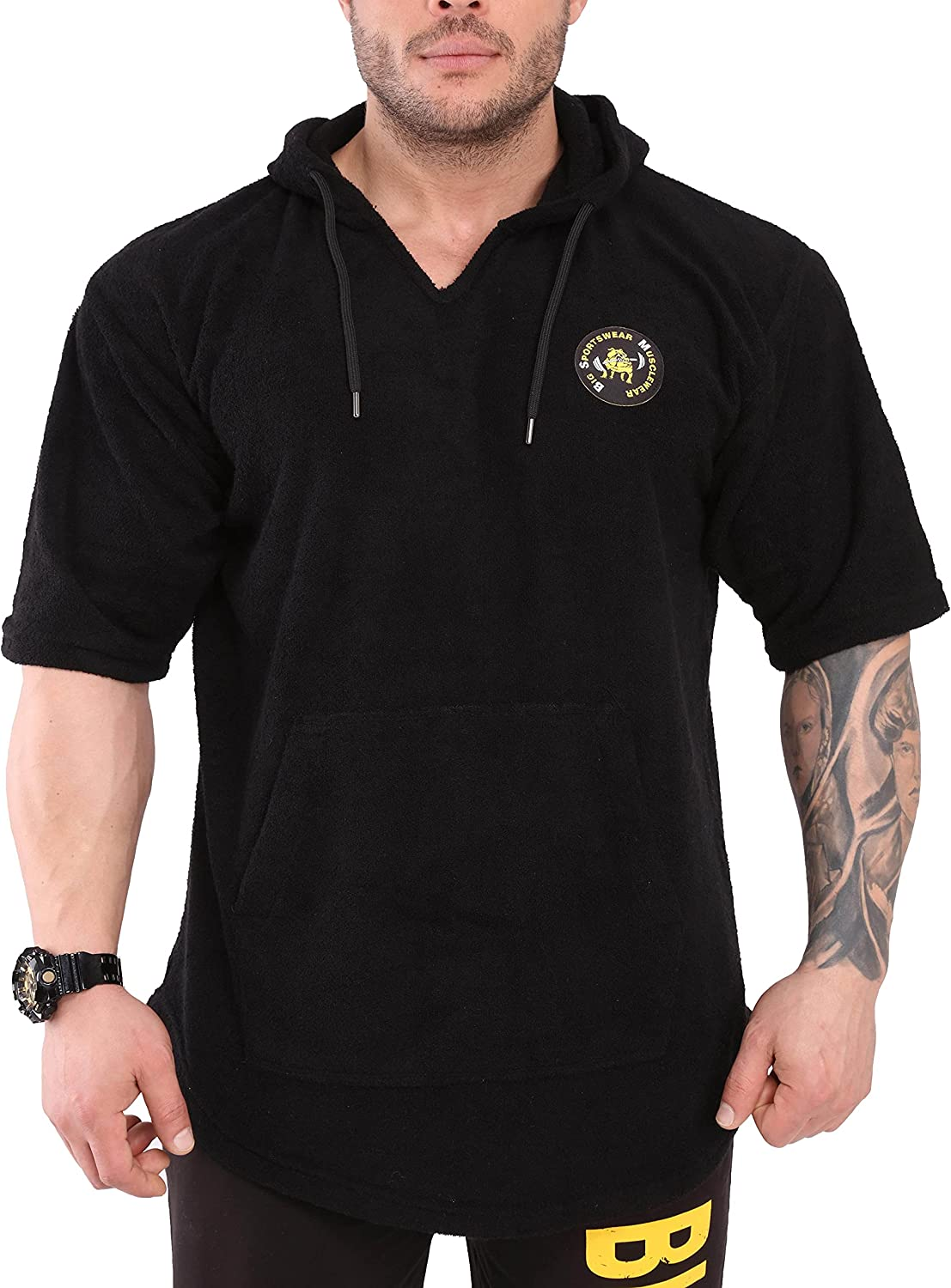 Product Men's wholesale Hooded Gym T-Shirt with Texture Oversize Pockets Towel