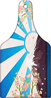 Lunarable Asian Cutting Board, Mountain Lake View Oriental Art Cherry Tree Snow Hill Nature Painting Effect, Decorative Tempered Glass Cutting and Serving Board, Wine Bottle Shape, Peach Blue Mauve
