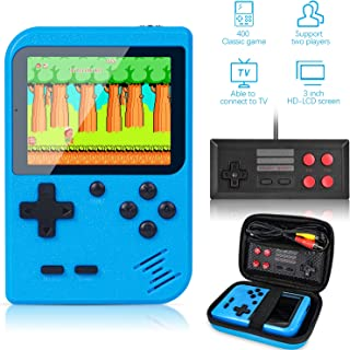 Retro Handheld Game Console With Protector Case, 400 Free Classical FC Games Support for Connecting TV & Two Players, Portable Video Game Gifts for Adults & Kids 8-12 90s Retro Toys