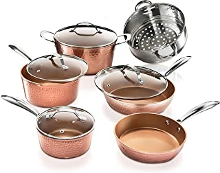 Gotham Steel Hammered Collection – 10 Piece Premium Cookware, Pots and Pan Set with Triple Coated Nonstick Copper Surface & Aluminum Composition for Even Heating, Oven, Stovetop & Dishwasher Safe