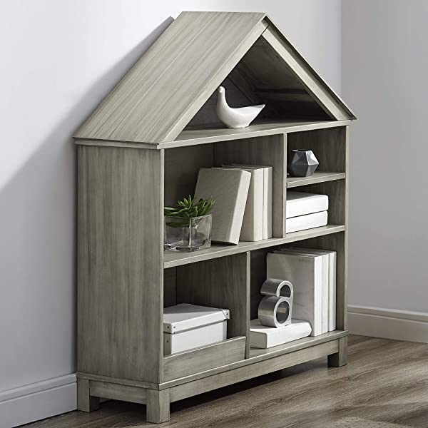 Classic Brands Sam Jack Kids House Syle Solid Wood Bookcase Antique White