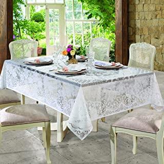 White Lace Rectangle Rosas Tablecloth Size 155x250 cm ≅ 60x98 inch. for 8-10 People Seating. Available in 62