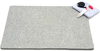 Glaciart One Wool Pressing Mat Quilting Ironing Pad - Mega (19x26) Easy Press Wooly Felted Iron Board for Quilters with: Scissors, Tape and Pouch - Large Organic Table Top Padded Felt Surface