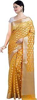 ساري بناراسي هندي عرقي من القطن والحرير من Chandrakala's مع بلوزة غير مخيطة (1105) (ذهبي-6)