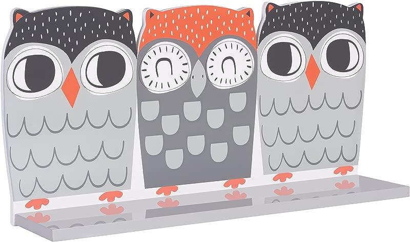Trend Lab Olive Owl Wall Shelf Pink Gray