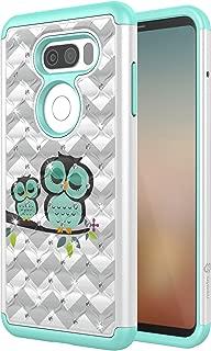 LG V30 Case, Style4U [Shockproof] Cute Owl LG V30 Bling Studded Rhinestone Crystal Hybrid Armor Case Cover for LG V30 [White/Teal]