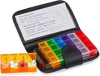 Relaxdays 10029482 Pill Box met koffer, zwart, 19,5 x 13,5 x 3,5 cm