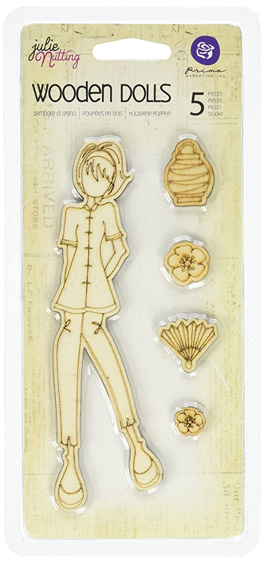 Prima Marketing Mixed Media Laser Cut Wood Doll Shapes, Cindy, 5 Pieces Per Pack