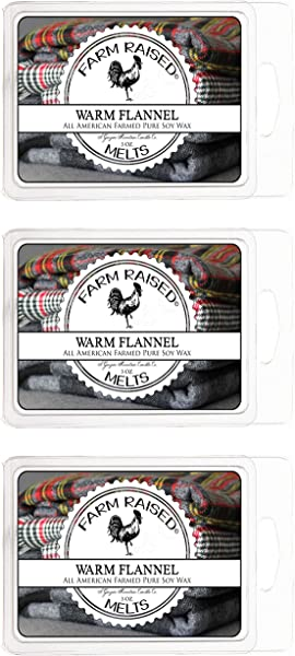 Warm Flannel Type 3 Pack 18 Cubes Premium Scented Soy Flameless Wax Melts 100 Natural All American Farmed Soy Wax Essential Fragrance Oils Smokeless Candles Vegan Friendly
