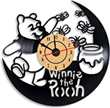 Levescale TM Winnie The Pooh Vinyl Wall Clock - Vintage Style for Girl, boy - Decoration for Bedroom, Kids Room - Boo to You Too - Tigger's Honey Hunt - Poo Bear - Day for Eeyore