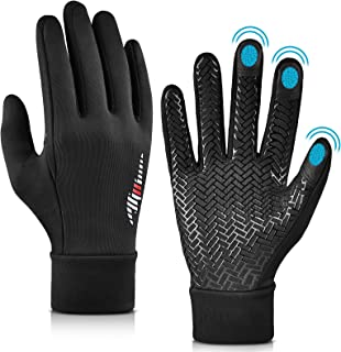 Winter Warm Running Cycling Gloves - Cold Weather Ski Thermal Sports Bike Black Mittens for Man...