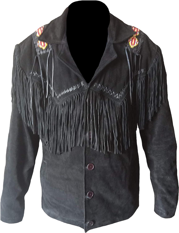 coolhides Men's Western Cowboy Suede Leather Beaded & Fringed Coat