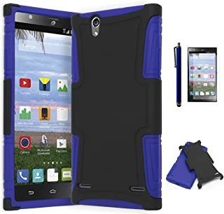 ZTE Lever Z936L Phone Case, Bastex Hybrid Soft Blue Silicone Cover Hard Black Case for ZTE Lever S936LINCLUDES SCREEN PROTECTOR AND STYLUS