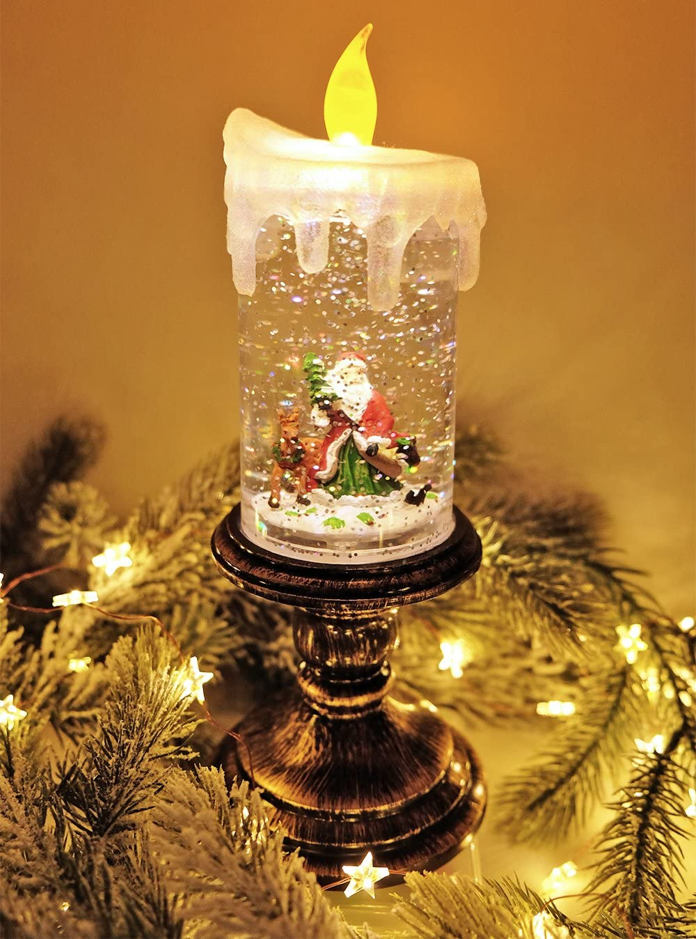 Snowman Lighted USB//Battery Operated Swirling Singing Water Glittering Lantern Eldnacele Musical Snow Globe House with Timer Christmas Snow Globes House Holiday Festival Decoration