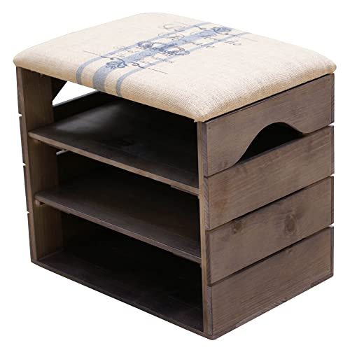 3068f002e42b LIZA Shoes Bench (TAUPE) - Premium Vintage Wooden Shoe Rack Organiser