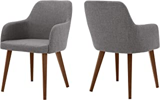 Christopher Knight Home Ahmanson Fabric Dining Chair with Wood Finish Metal Legs (Set of 2) (Light Grey)