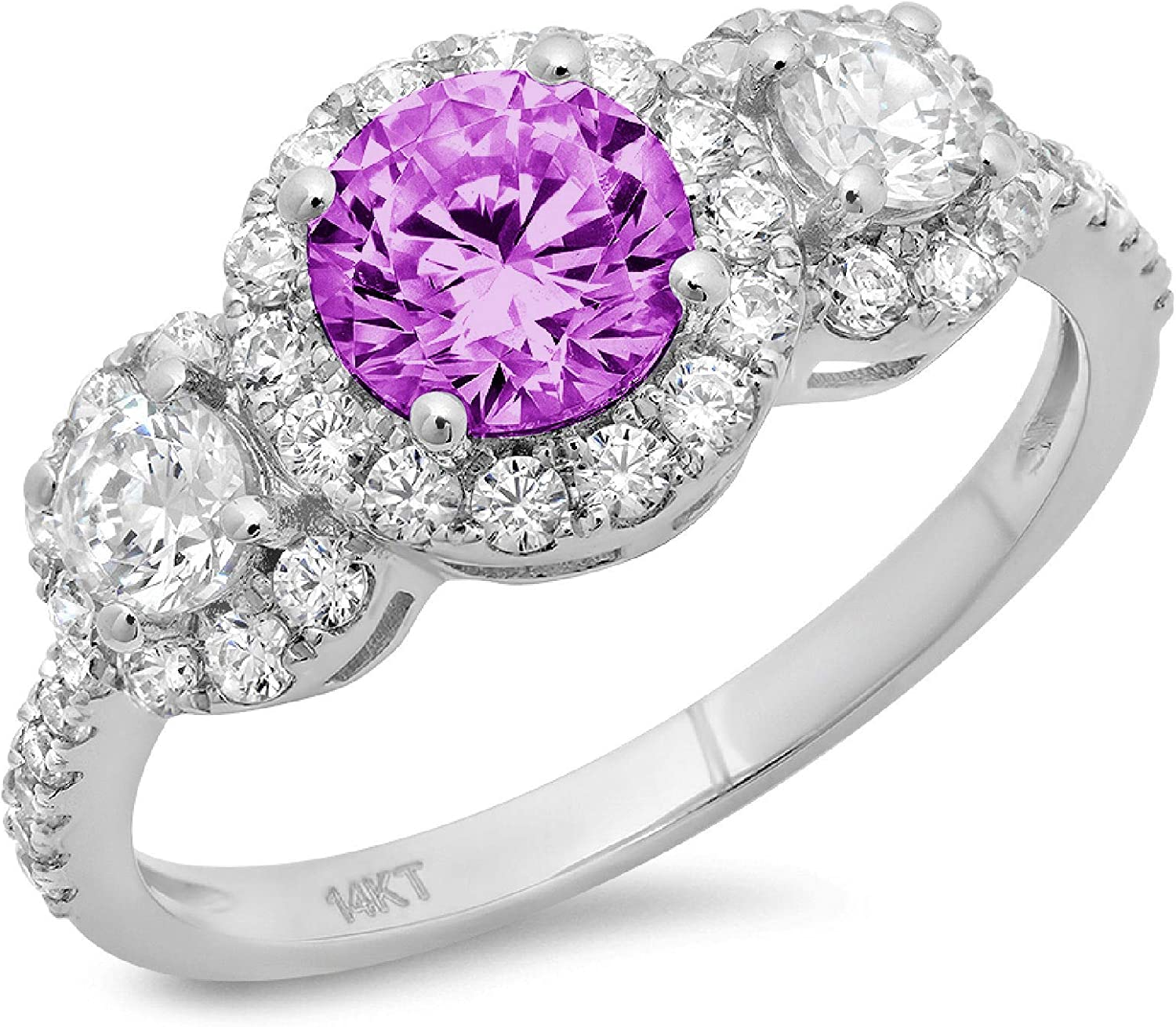1.8 ct Round Ranking TOP18 Cut Halo Solitaire Stunning With 3 Accent Gen Sale Special Price stone