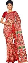 RLB Fashion Women's Cotton Silk Handloom Dhakai Jamdani Saree (RLB-00326, Beige and Red, Free Size)