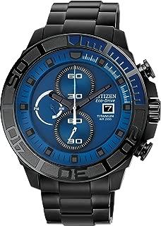 #CA0525-50L Men's Eco Drive Black IP Titanium Blue Dial 200M Chronograph Watch