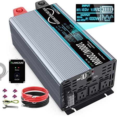 FLAMEZUM 1000W Continuous/2000W Peak Pure Sine Wave Inverter DC 12V to AC 110V Car Power Inverter with Remote Control 3 AC Outlets & 2A USB Output