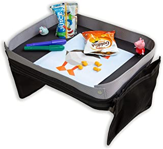 Modfamily Kids E-Z Travel Tray for Kids - Works with Any Car Seat and Wraps Around Child's Waist- Creates an Organized Place to Play and Eat (Black/Gray)