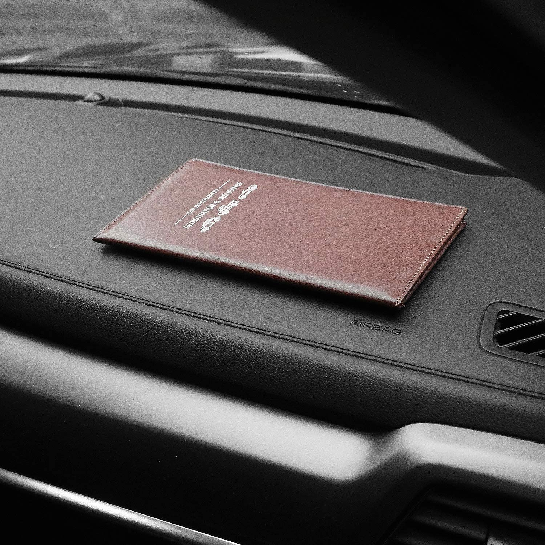 Brown Leather Vehicle Glove Box Documents Organizer Wallet Case ...