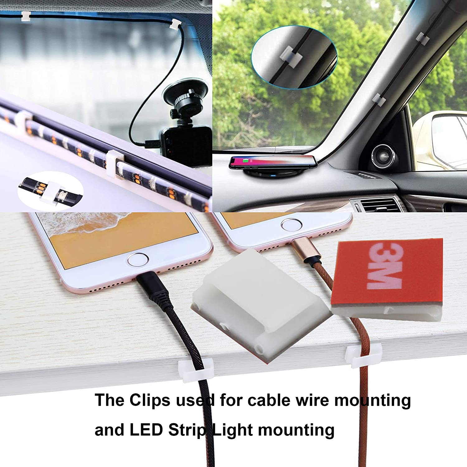 Clear Strip Light Mounting Clips Self-Adhesive Strip Light Brackets Hooks,Fixing Clamps LED Strip Light 8mm,10mm,12mm.72 Pack Strip Light Brackets Holder,USB Cable Wires Organizer.