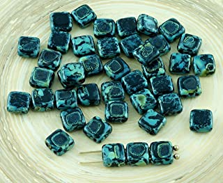 40pcs Picasso Opaque Black Tile Czech Glass Beads Two Hole Flat Square 6mm x 6mm