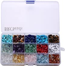 Gemstone Beads, BRCbeads Natural Chips Irregular 15 Color Assorted Box Set Loose Beads 7~8mm Crystal Energy Stone Healing Power for Jewelry Making(Plastic Box is Included)