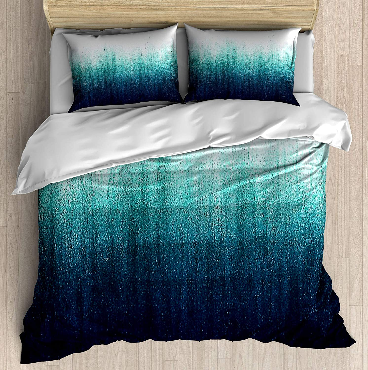Teal Ombre Duvet Cover Set Printed Bed Unique Indefinitely 67% OFF of fixed price Pillowcase Des