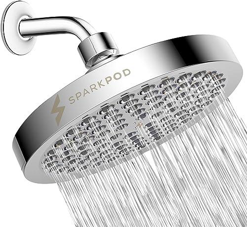 SparkPod Shower Head - High Pressure Rain - Luxury Modern Chrome Look - Easy Tool Free Installation - The Perfect Adj...