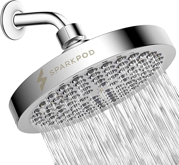 SparkPod Shower Head High Pressure Rain Luxury Modern Chrome Look Easy Tool Free Installation The Perfect Adjustable Replacement For Your Bathroom Shower Heads