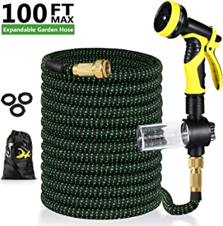 Pimpimsky Garden Hose Expandable 100 feet, Flexible Shrinking Hose with Solid Brass Fittings, Durable Triple Latex Core 9-...