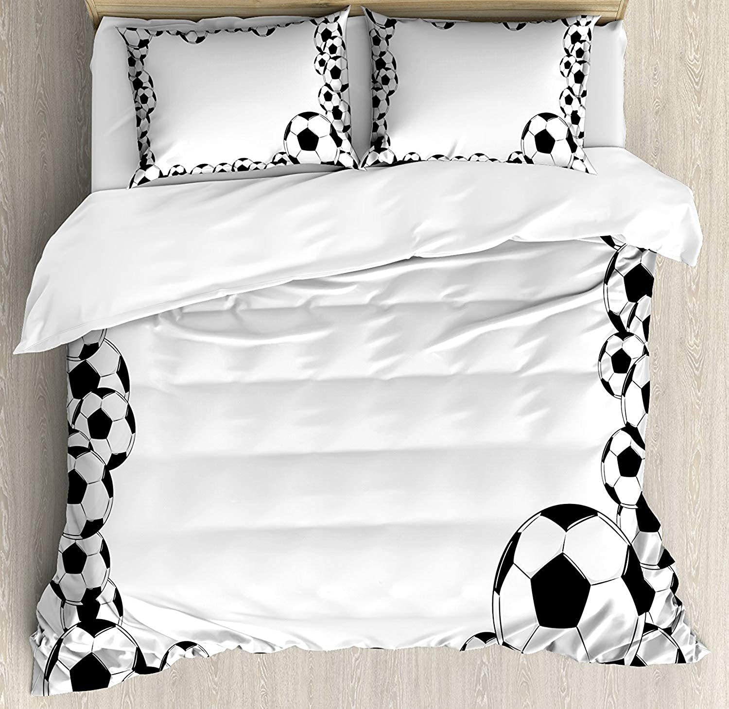 Soccer Duvet Cover Set Twin Monochrome Football Frame Pattern Abstract Illustration Playing Sports Game Bedding Set 4 Piece Lightweight Bed Comforter Covers Includes 2 Pillow Shams White Charcoal Grey
