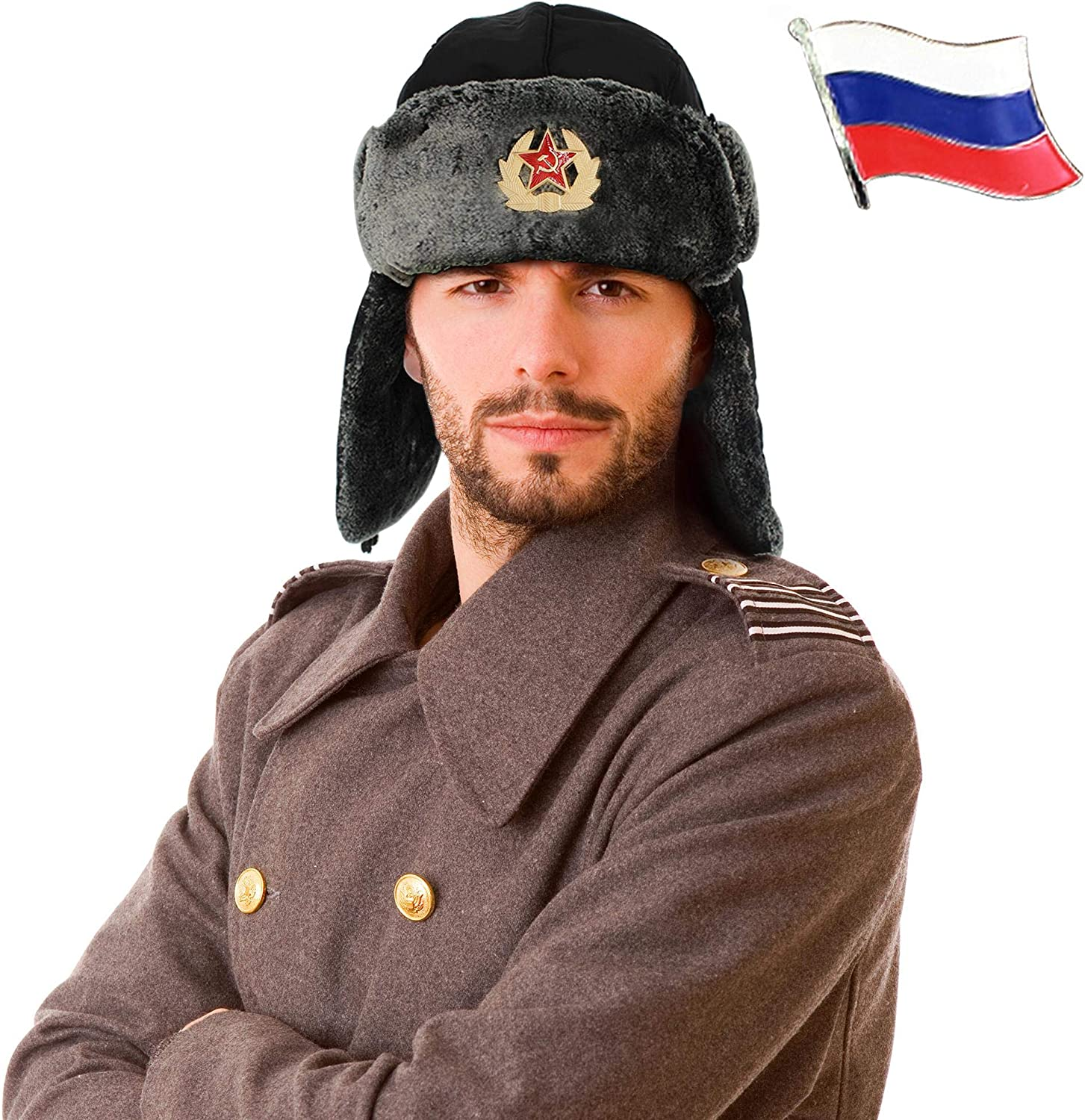 Russian Hat Ushanka + 2 pins. One Size, Unisex Soviet Hat with Ear Flaps & Chin Strap for Cold Weather. Windproof and Waterproof Ushanka Hat – Ideal Winter Trapper Hat for Men & Women. Black