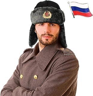 قبعة روسية أوشنكا + دبابيس. مقاس واحد، قبعة سوفيتية للجنسين مع أغطية للأذنين وحزام للذقن للطقس البارد. قبعة يوشنكا مضادة ل...