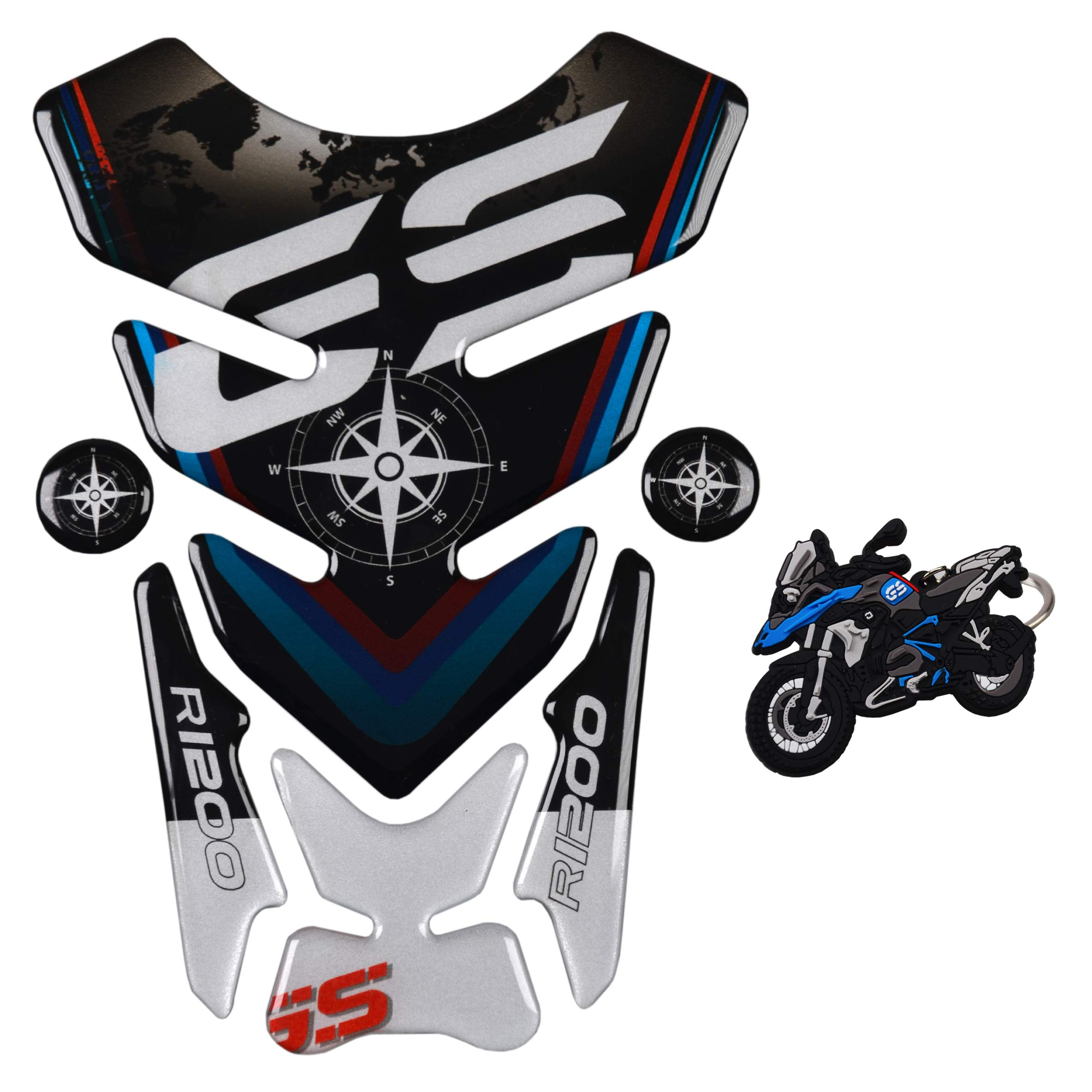 REVSOSTAR Motorcycle Reflective Sticker Tank Pad for R1200GS r1200gs GS Adventure ADV GS-Adv Tankpad with Keychain Gas Tank Protector
