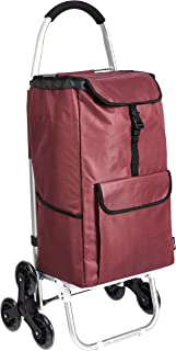 AmazonBasics - Carrito de la compra con 6 ruedas y asas de aluminio, 50 litros, color rojo