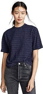 Women's Indigo Stripe Wide Sleeve Crop T-Shirt